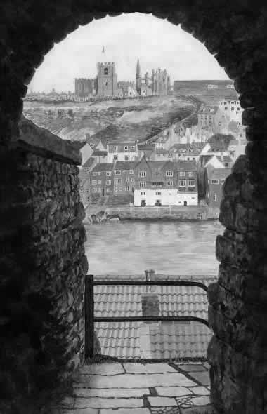 WHITBY THROUGH THE KEYHOLE painted by DAVID APPLEYARD