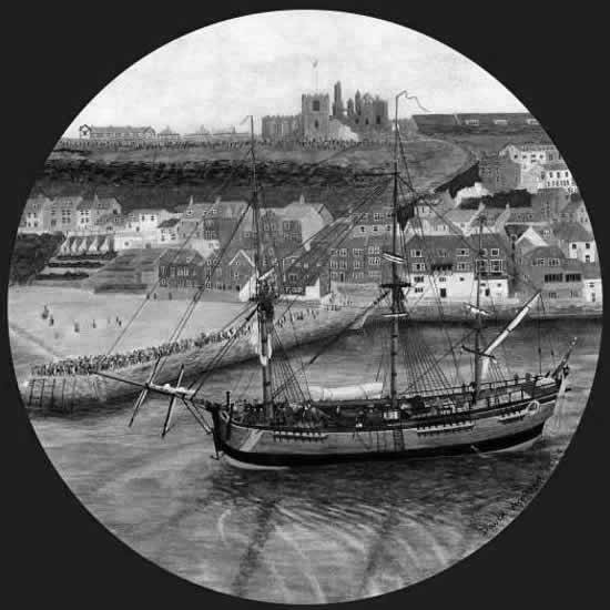 ENDEAVOUR LEAVING WHITBY painted by DAVID APPLEYARD