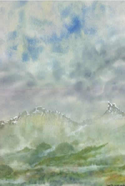 WINTER MOUNTAINS painted by DAVID APPLEYARD