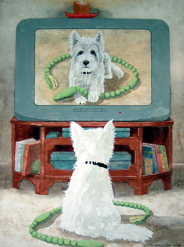 GEORGE (THE TELLY WATCHING DOG) painted by DAVID APPLEYARD