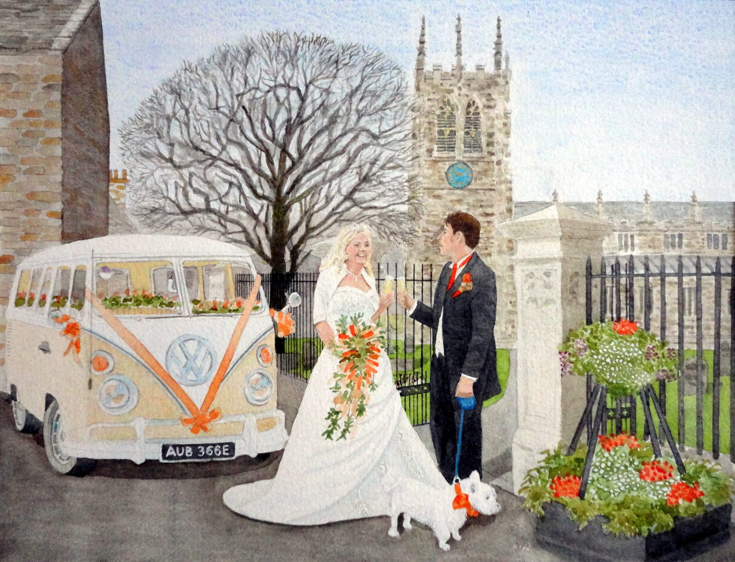 SURPRISE WEDDING PRESENT FOR YOUNG GUN AND HIS WIFE painted by DAVID APPLEYARD