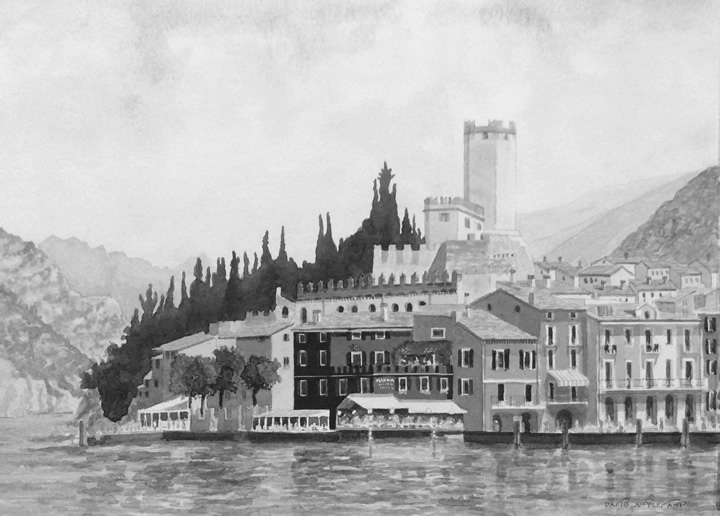 MALCESINE, LAKE GARDA painted by DAVID APPLEYARD