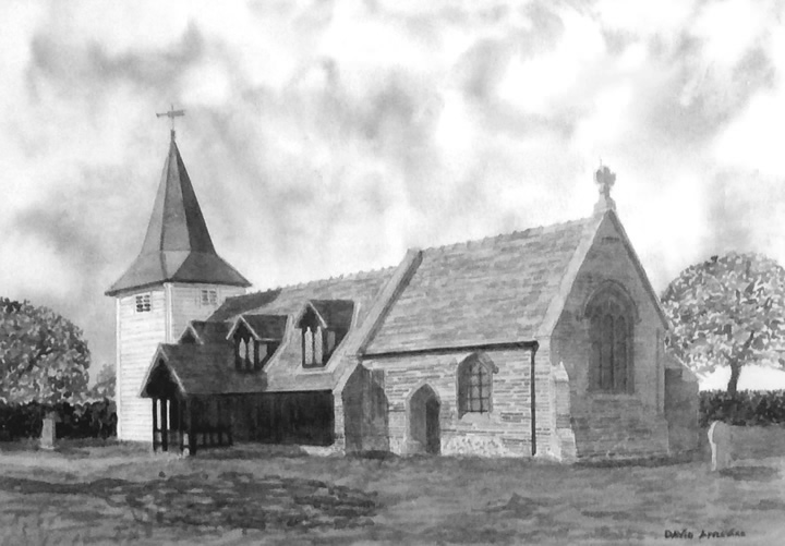 GREENSTED CHURCH, CHIPPING ONGAR painted by DAVID APPLEYARD