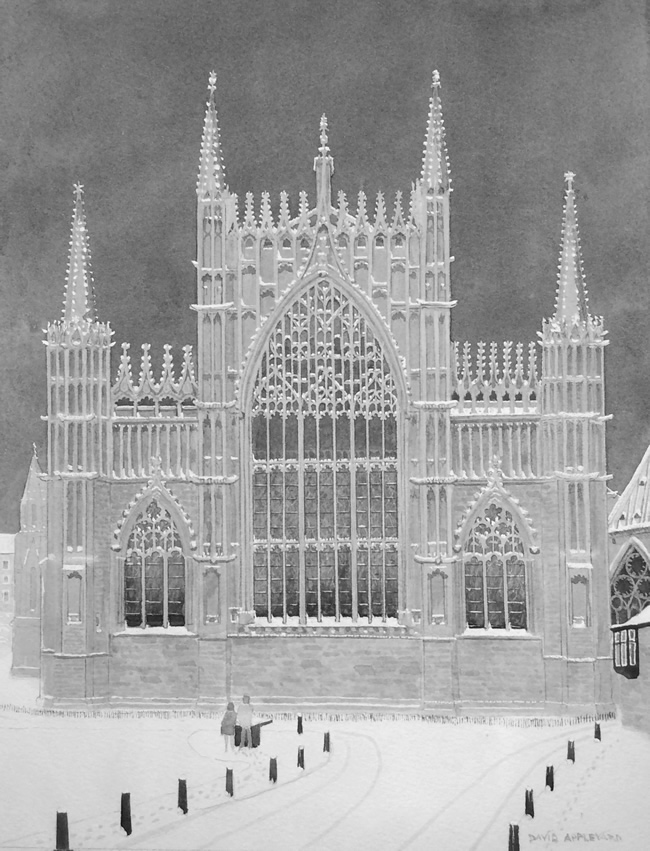 YORK'S FINEST, YORK MINSTER EAST WINDOW IN THE SNOW painted by DAVID APPLEYARD